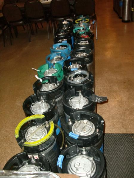 Some of the kegs, awaiting ice